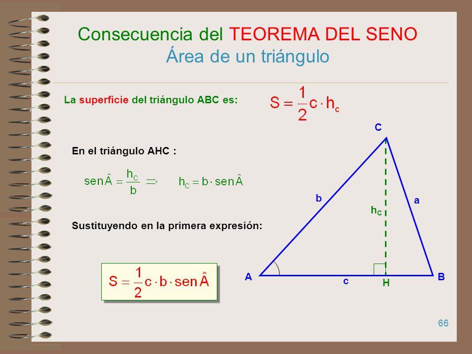 Consecuencia del TEOREMA DEL SENO Área de un triángulo