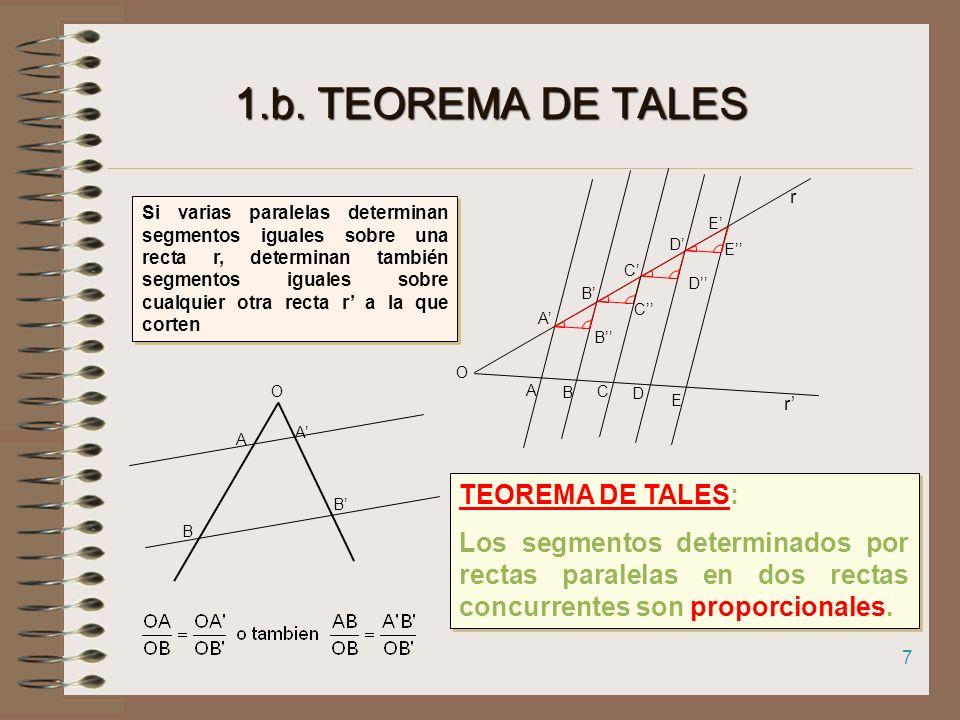 1.b. TEOREMA DE TALES TEOREMA DE TALES: