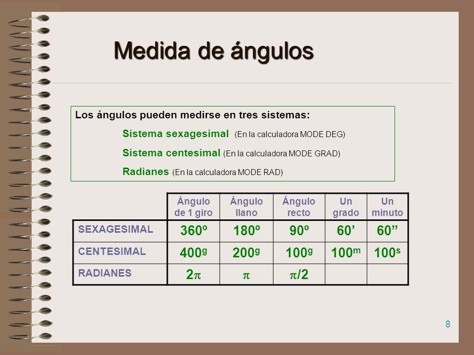Medida de ángulos 360º 180º 90º 60' 60 400g 200g 100g 100m 100s 2 