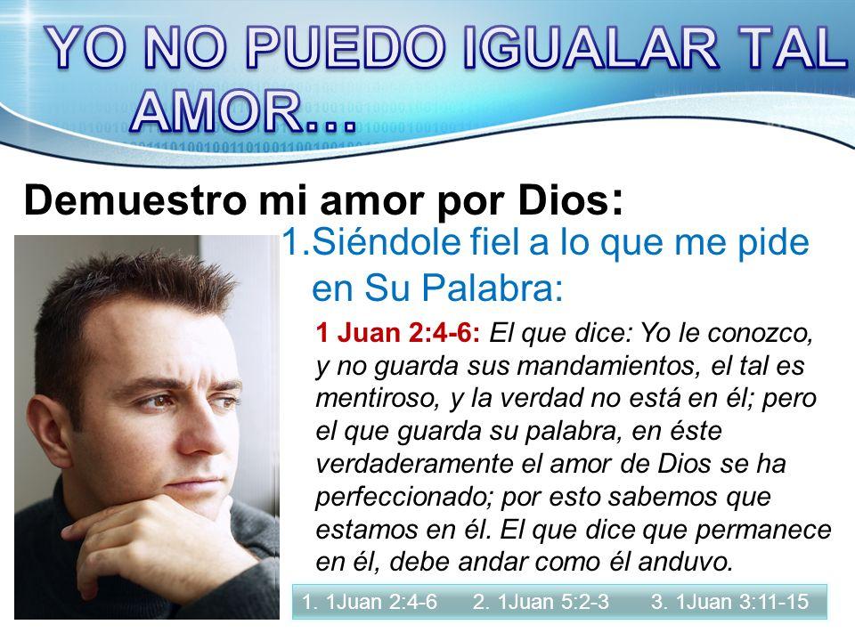 YO NO PUEDO IGUALAR TAL AMOR… Demuestro mi amor por Dios: