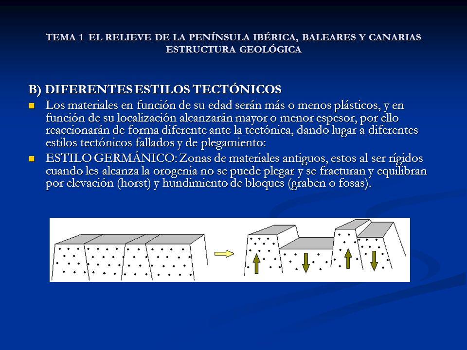 B) DIFERENTES ESTILOS TECTÓNICOS