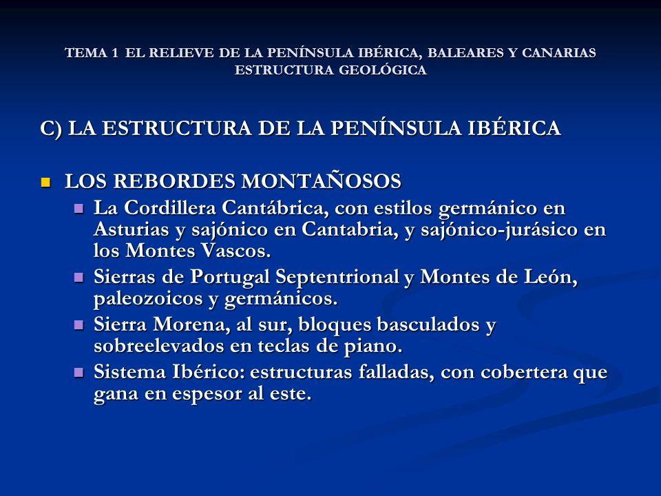 C) LA ESTRUCTURA DE LA PENÍNSULA IBÉRICA LOS REBORDES MONTAÑOSOS