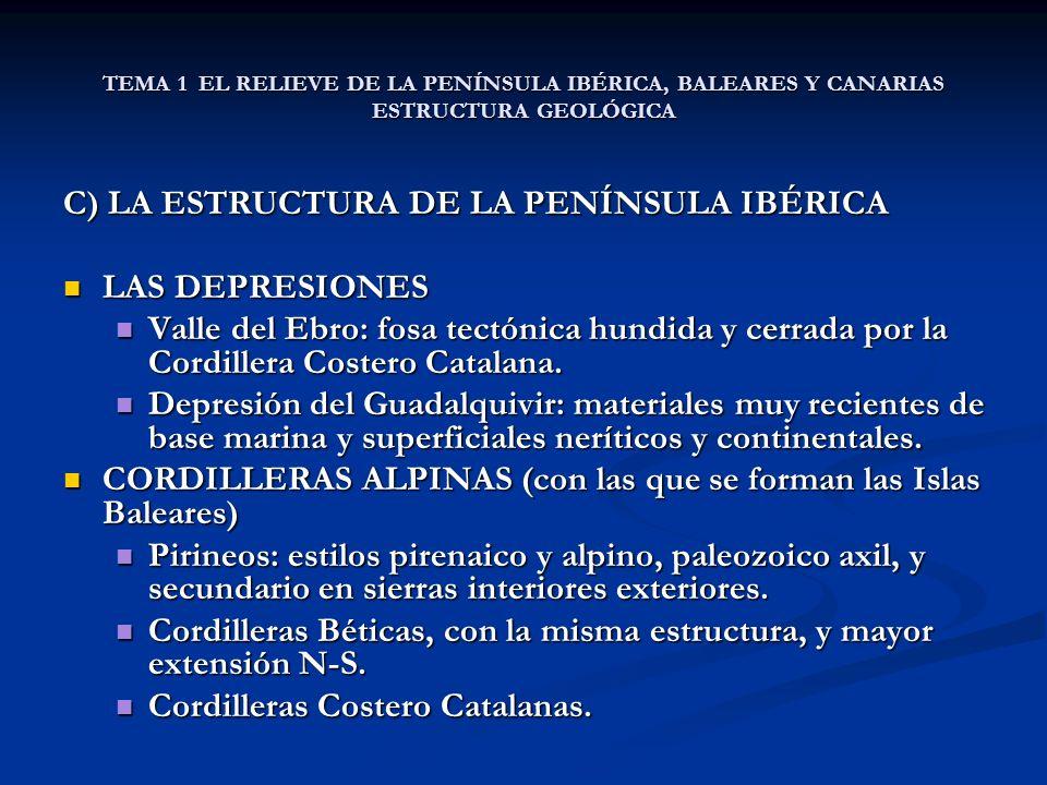 C) LA ESTRUCTURA DE LA PENÍNSULA IBÉRICA LAS DEPRESIONES