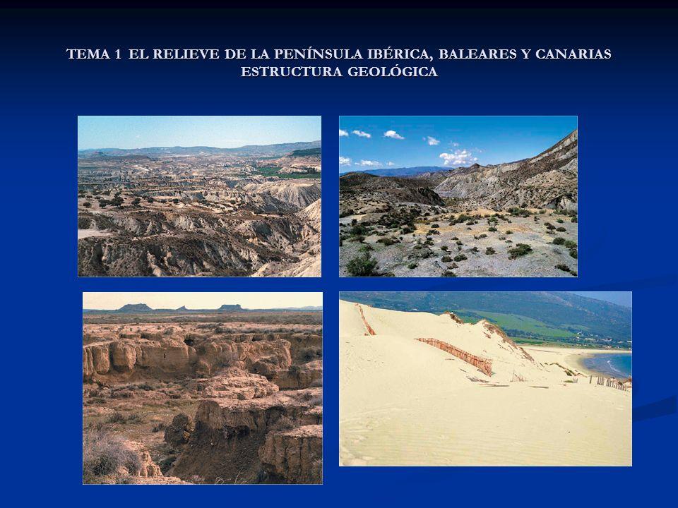 TEMA 1 EL RELIEVE DE LA PENÍNSULA IBÉRICA, BALEARES Y CANARIAS ESTRUCTURA GEOLÓGICA