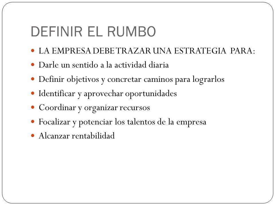 DEFINIR EL RUMBO LA EMPRESA DEBE TRAZAR UNA ESTRATEGIA PARA: