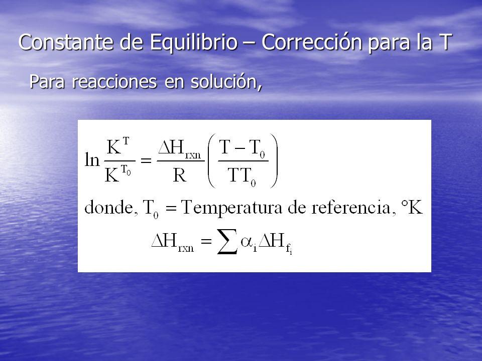 Constante de Equilibrio – Corrección para la T