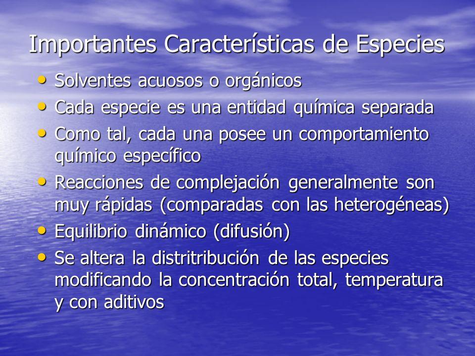 Importantes Características de Especies