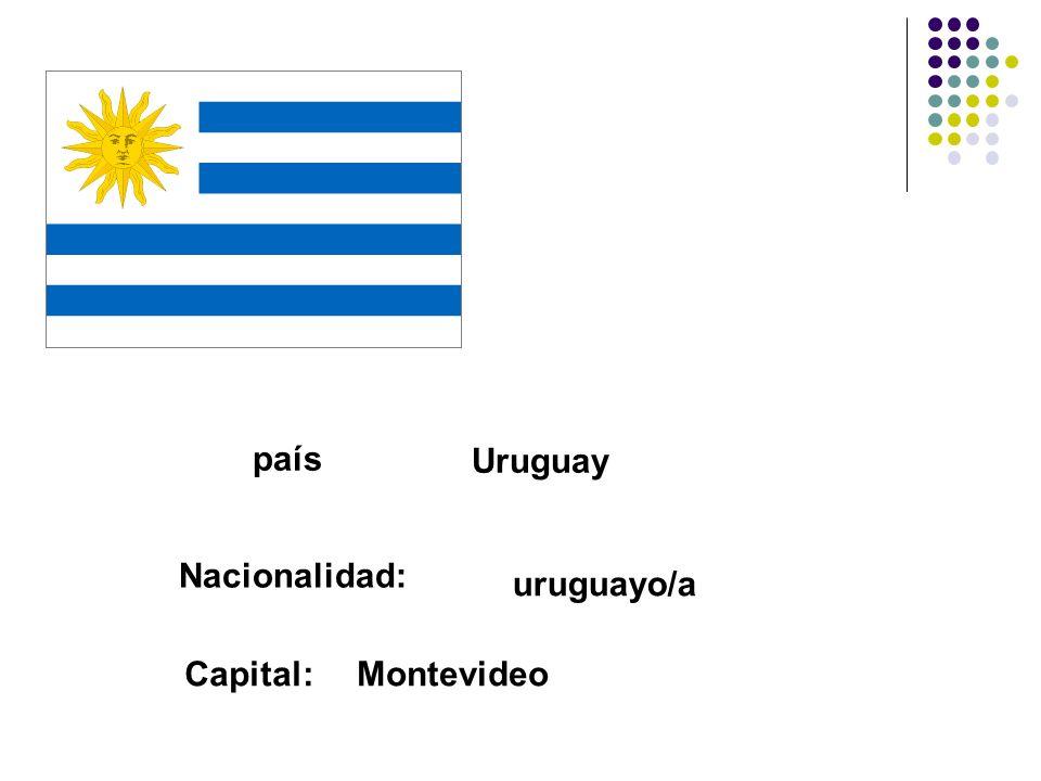 país Uruguay Nacionalidad: uruguayo/a Capital: Montevideo