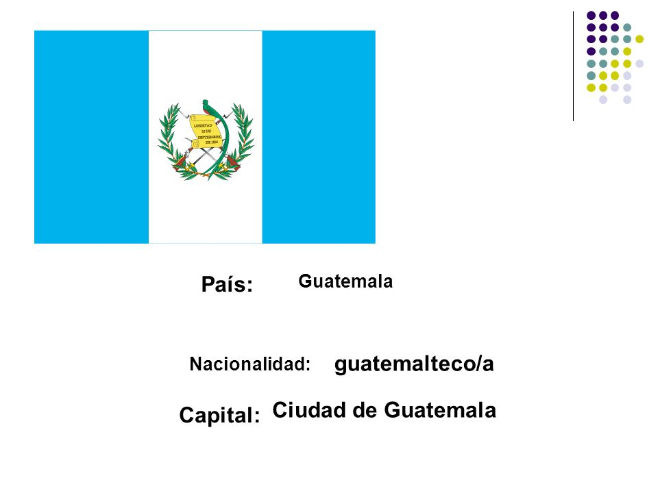 País: guatemalteco/a Ciudad de Guatemala Capital: Guatemala