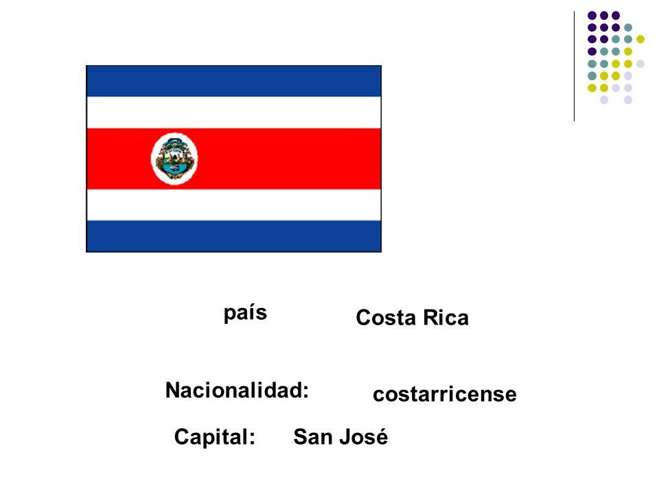 país Costa Rica Nacionalidad: costarricense Capital: San José