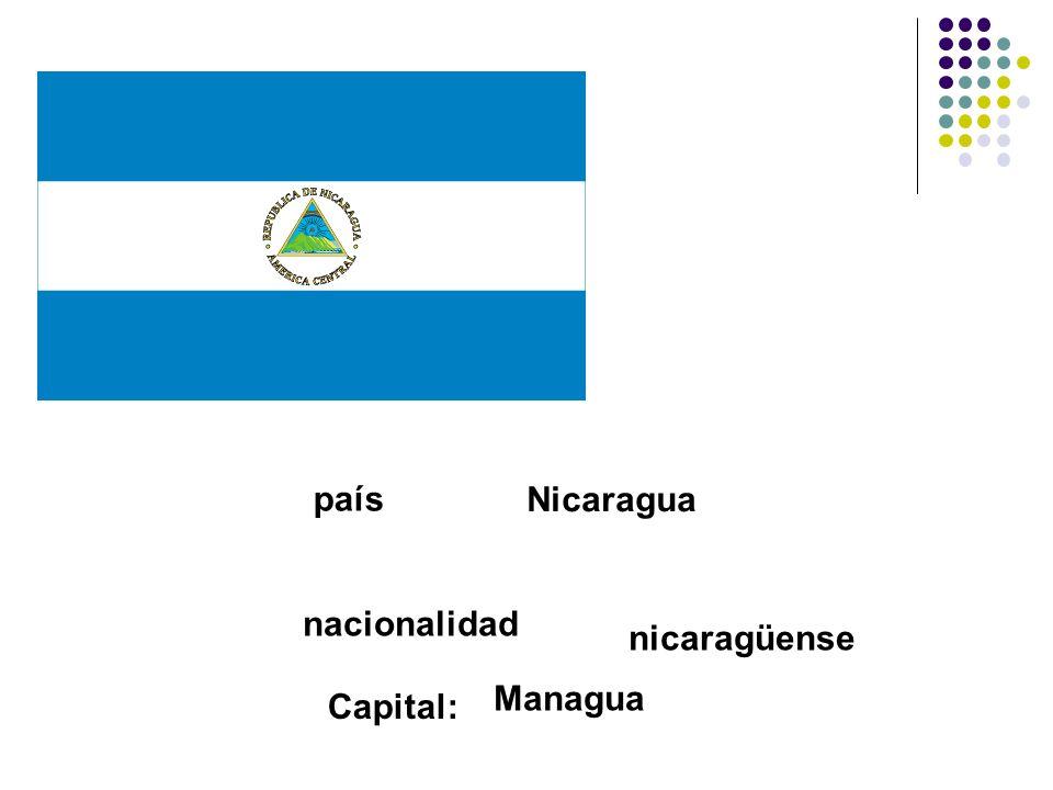 país Nicaragua nacionalidad nicaragüense Managua Capital: