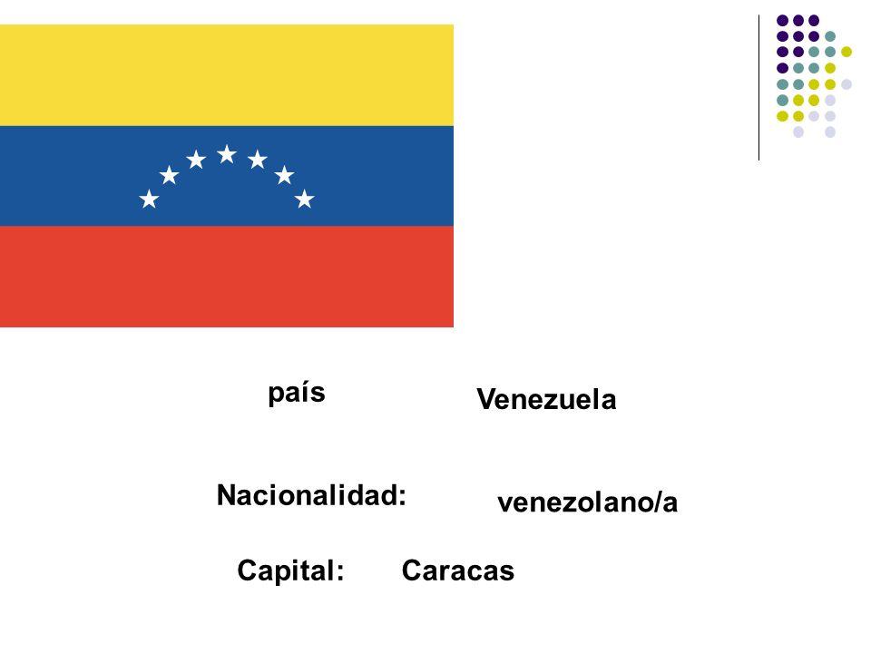 país Venezuela Nacionalidad: venezolano/a Capital: Caracas