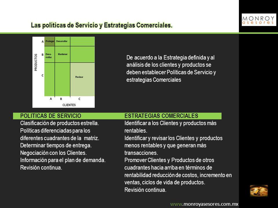 Las políticas de Servicio y Estrategias Comerciales.