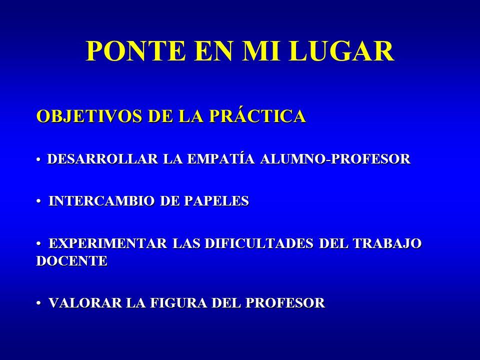 PONTE EN MI LUGAR OBJETIVOS DE LA PRÁCTICA INTERCAMBIO DE PAPELES