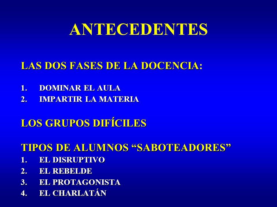 ANTECEDENTES LAS DOS FASES DE LA DOCENCIA: LOS GRUPOS DIFÍCILES