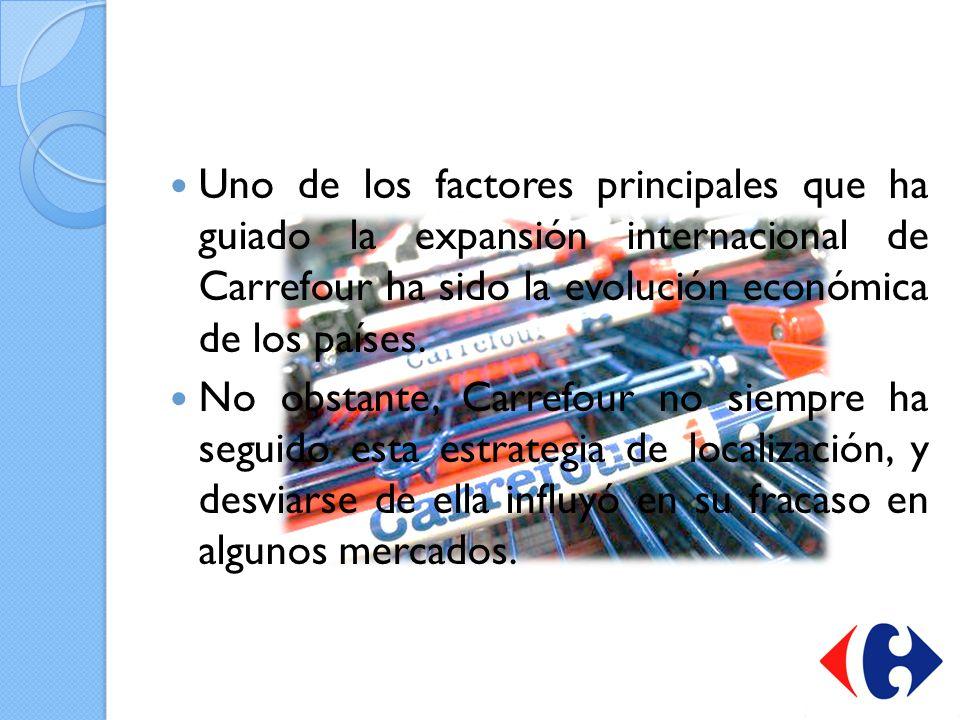 Uno de los factores principales que ha guiado la expansión internacional de Carrefour ha sido la evolución económica de los países.