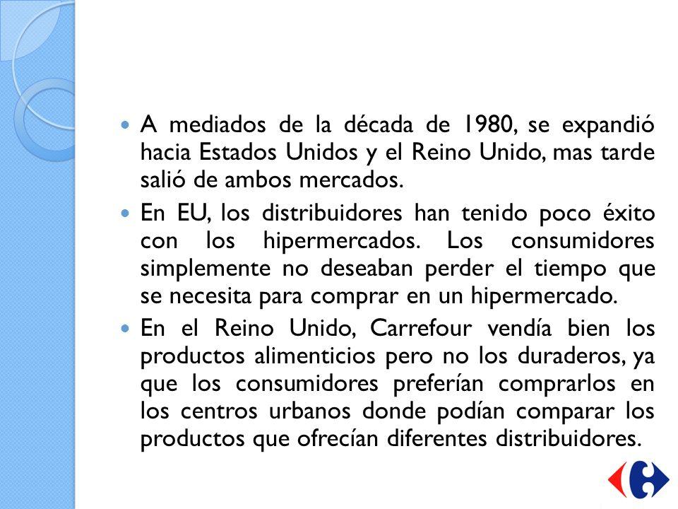 A mediados de la década de 1980, se expandió hacia Estados Unidos y el Reino Unido, mas tarde salió de ambos mercados.