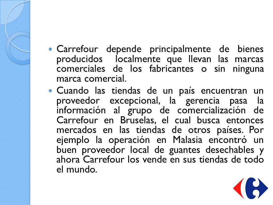 Carrefour depende principalmente de bienes producidos localmente que llevan las marcas comerciales de los fabricantes o sin ninguna marca comercial.