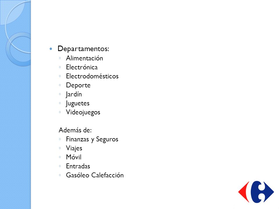 Departamentos: Alimentación Electrónica Electrodomésticos Deporte
