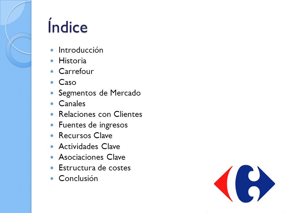 Índice Introducción Historia Carrefour Caso Segmentos de Mercado