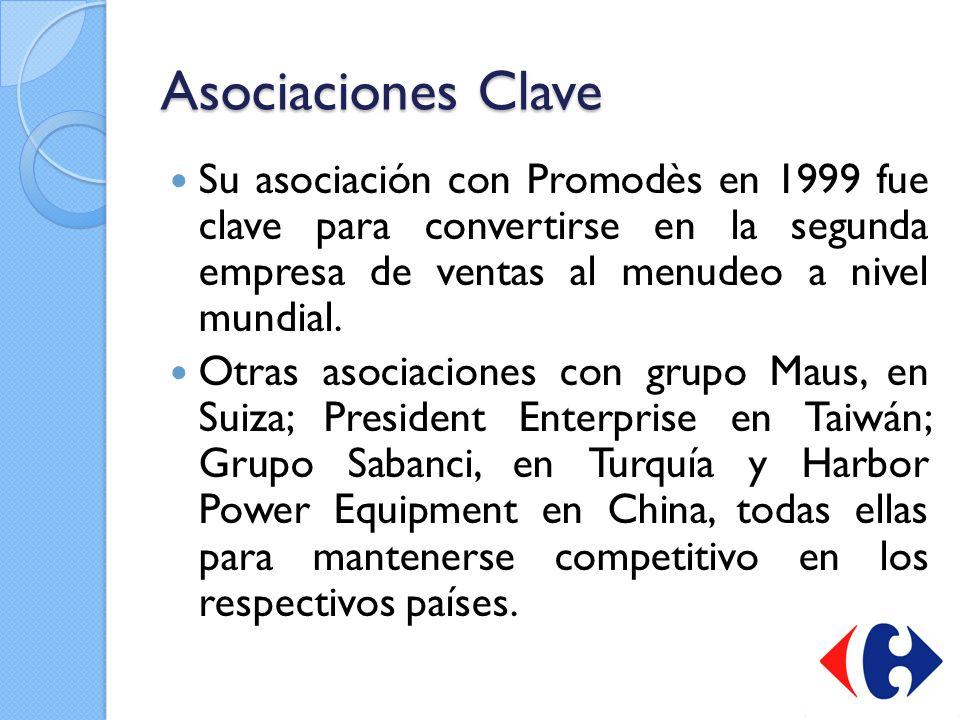 Asociaciones Clave Su asociación con Promodès en 1999 fue clave para convertirse en la segunda empresa de ventas al menudeo a nivel mundial.