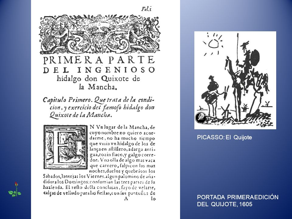 PICASSO: El Quijote PORTADA PRIMERA EDICIÓN DEL QUIJOTE, 1605