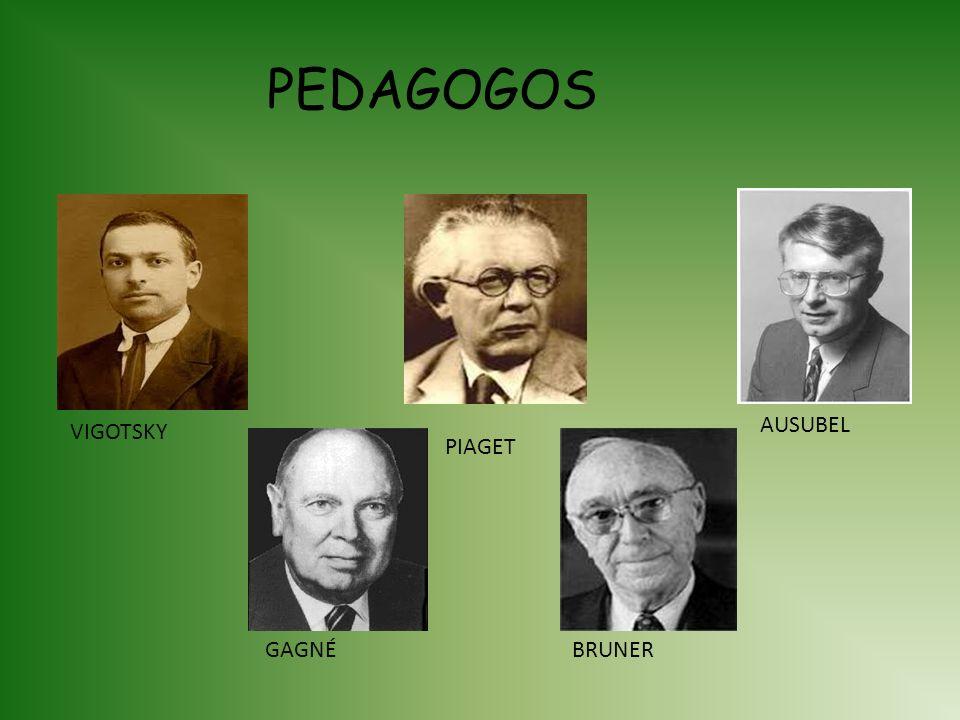 PEDAGOGOS AUSUBEL VIGOTSKY PIAGET GAGNÉ BRUNER