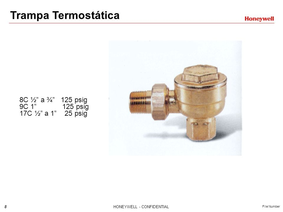 Trampa Termostática 8C ½ a ¾ 125 psig 9C 1 125 psig 17C ½ a 1 25 psig