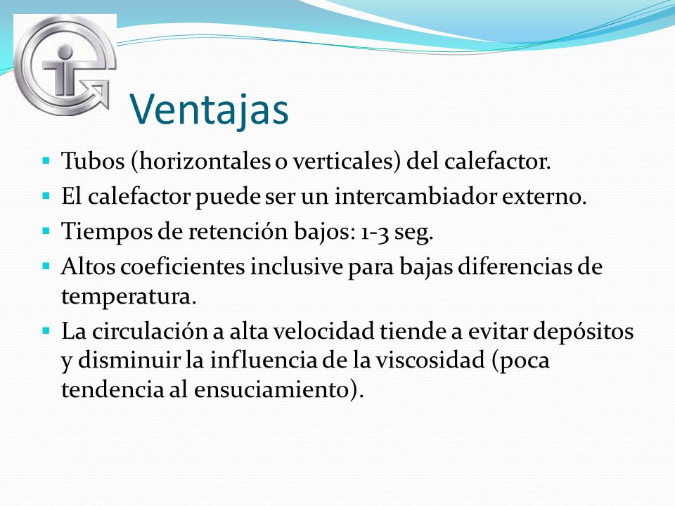Ventajas Tubos (horizontales o verticales) del calefactor.