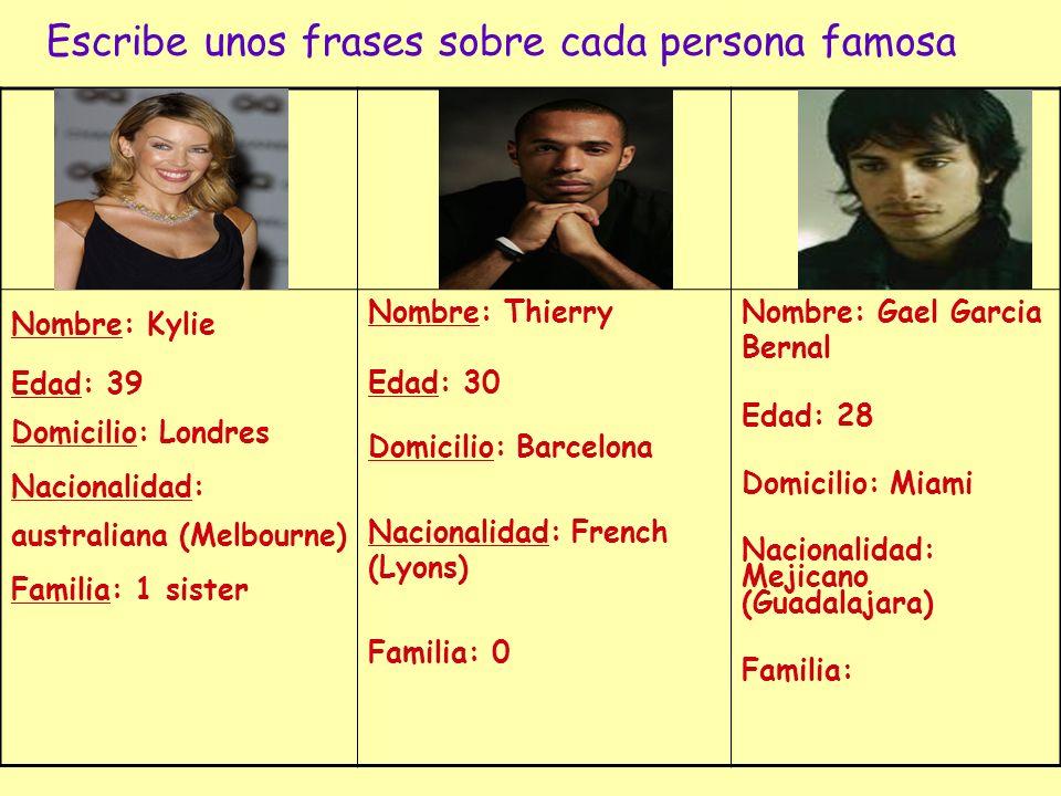 Escribe unos frases sobre cada persona famosa