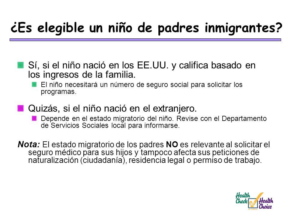 ¿Es elegible un niño de padres inmigrantes