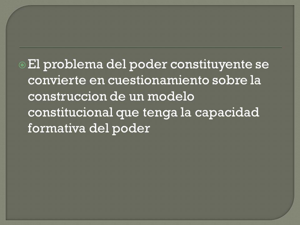 El problema del poder constituyente se convierte en cuestionamiento sobre la construccion de un modelo constitucional que tenga la capacidad formativa del poder