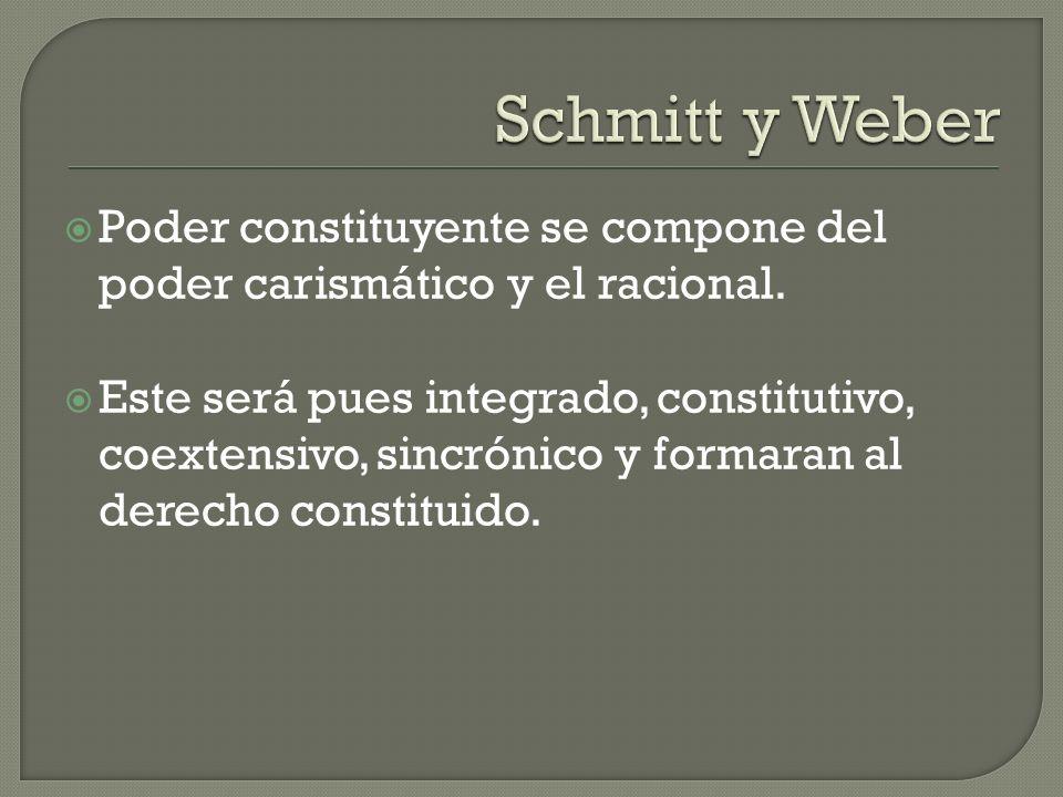 Schmitt y Weber Poder constituyente se compone del poder carismático y el racional.