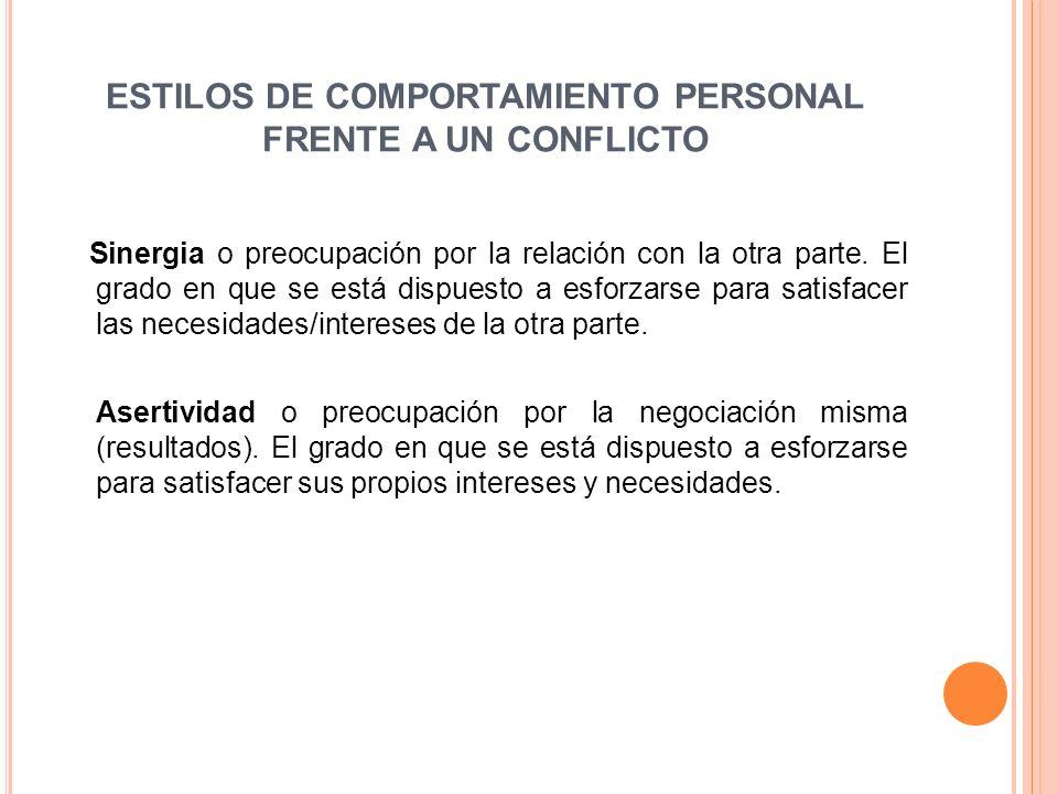 ESTILOS DE COMPORTAMIENTO PERSONAL FRENTE A UN CONFLICTO