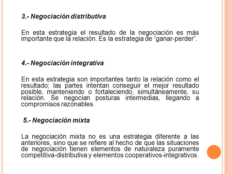 3.- Negociación distributiva