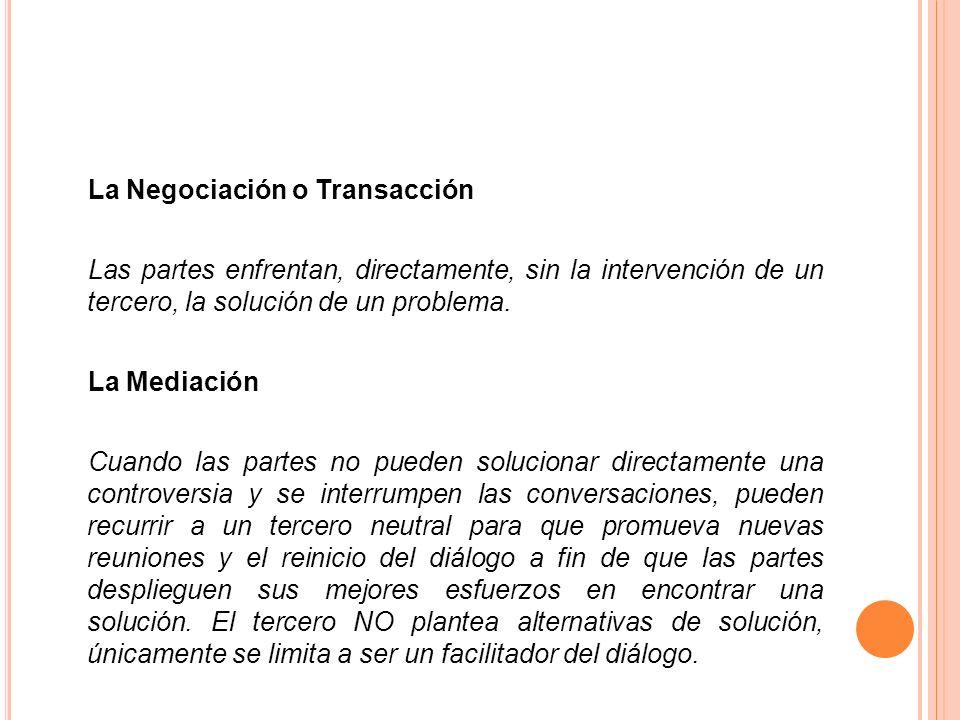 La Negociación o Transacción