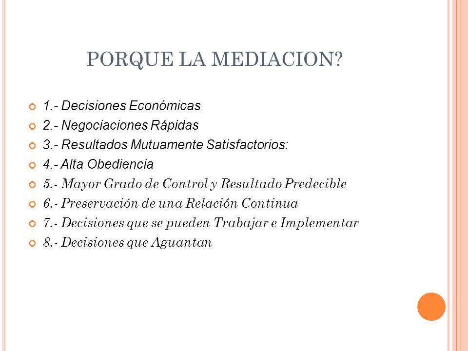 PORQUE LA MEDIACION 1.- Decisiones Económicas