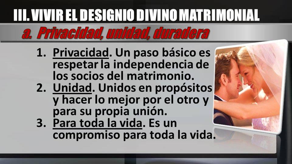 III. VIVIR EL DESIGNIO DIVINO MATRIMONIAL