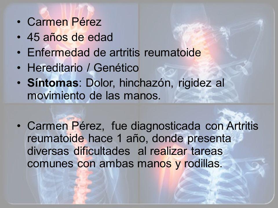 Carmen Pérez 45 años de edad. Enfermedad de artritis reumatoide. Hereditario / Genético.