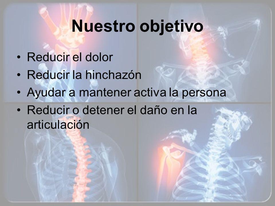 Nuestro objetivo Reducir el dolor Reducir la hinchazón