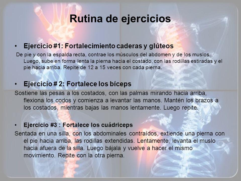 Rutina de ejercicios Ejercicio #1: Fortalecimiento caderas y glúteos
