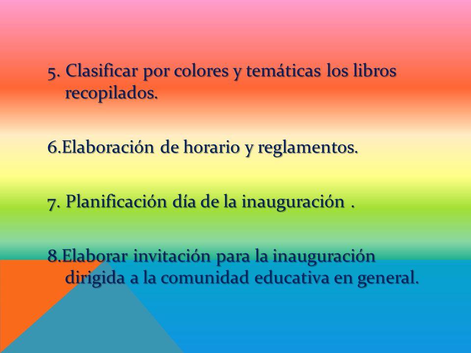 5. Clasificar por colores y temáticas los libros recopilados. 6