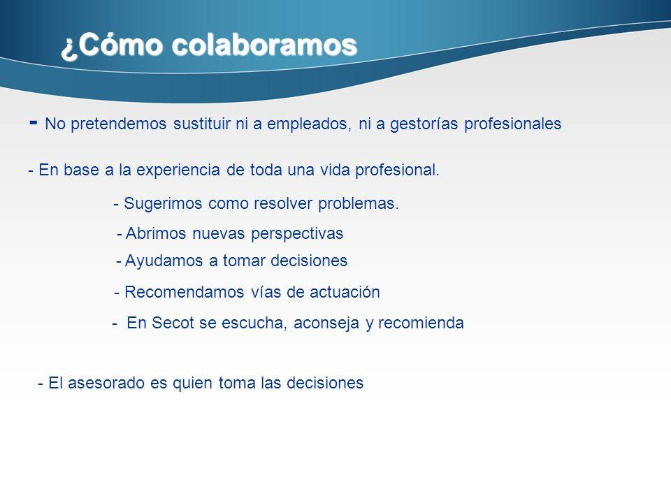 ¿Cómo colaboramos - No pretendemos sustituir ni a empleados, ni a gestorías profesionales. - En base a la experiencia de toda una vida profesional.