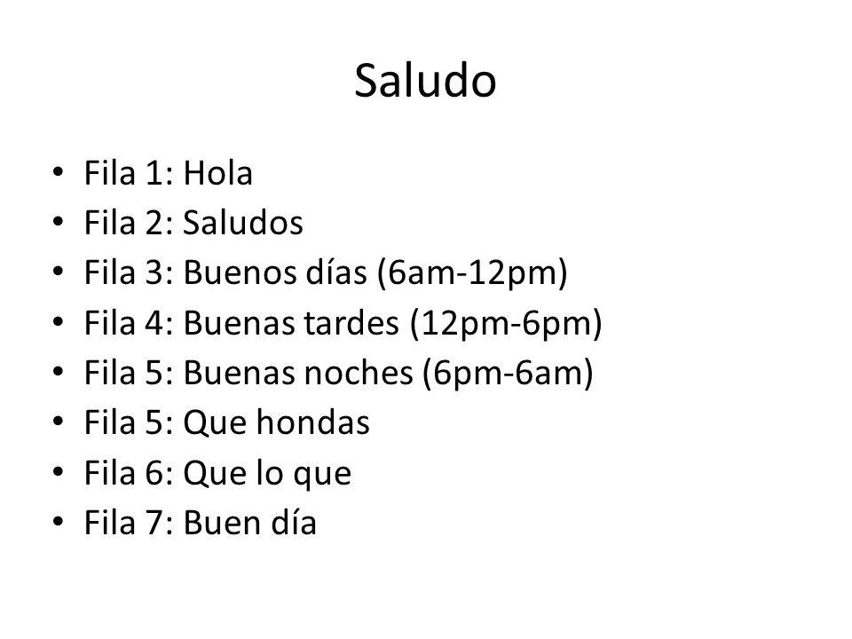 Saludo Fila 1: Hola Fila 2: Saludos Fila 3: Buenos días (6am-12pm)