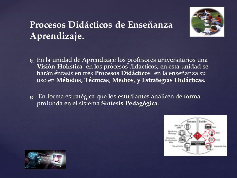 Procesos Didácticos de Enseñanza Aprendizaje.