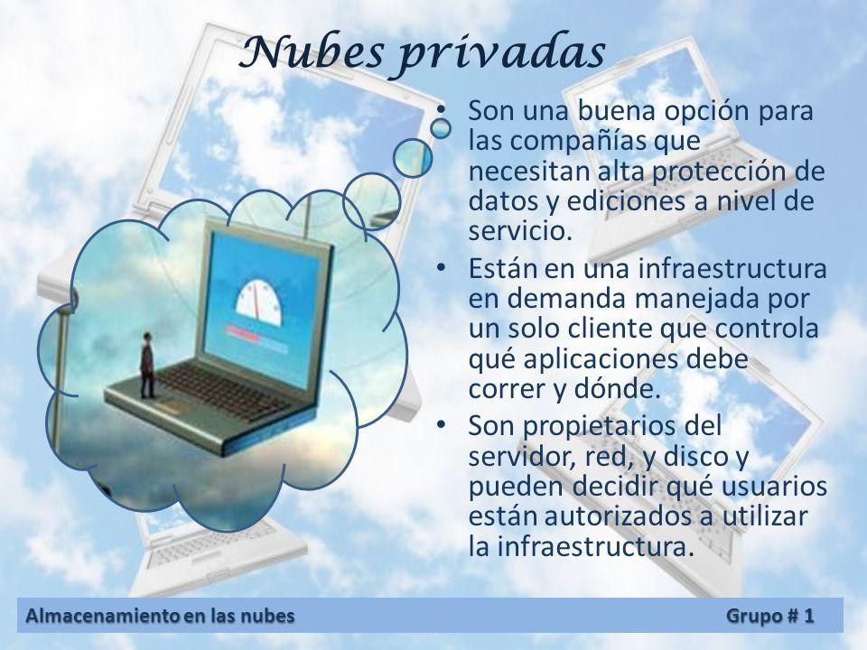 Nubes privadas Son una buena opción para las compañías que necesitan alta protección de datos y ediciones a nivel de servicio.