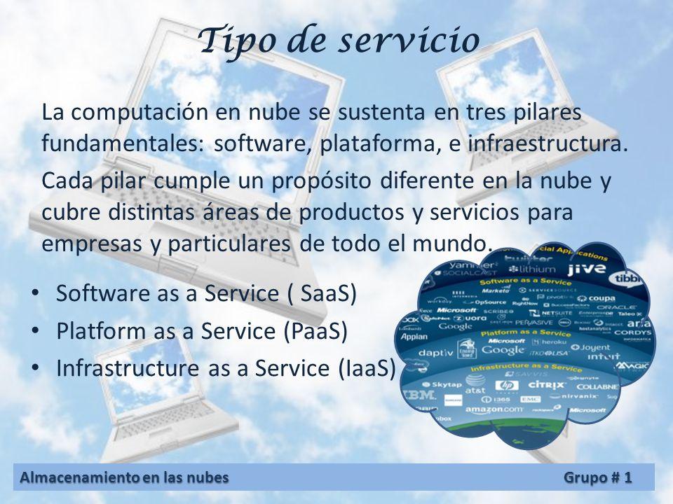 Tipo de servicio La computación en nube se sustenta en tres pilares fundamentales: software, plataforma, e infraestructura.