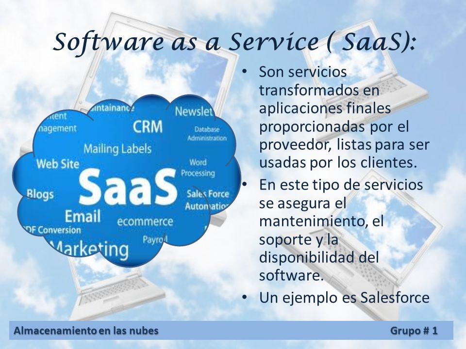 Software as a Service ( SaaS):