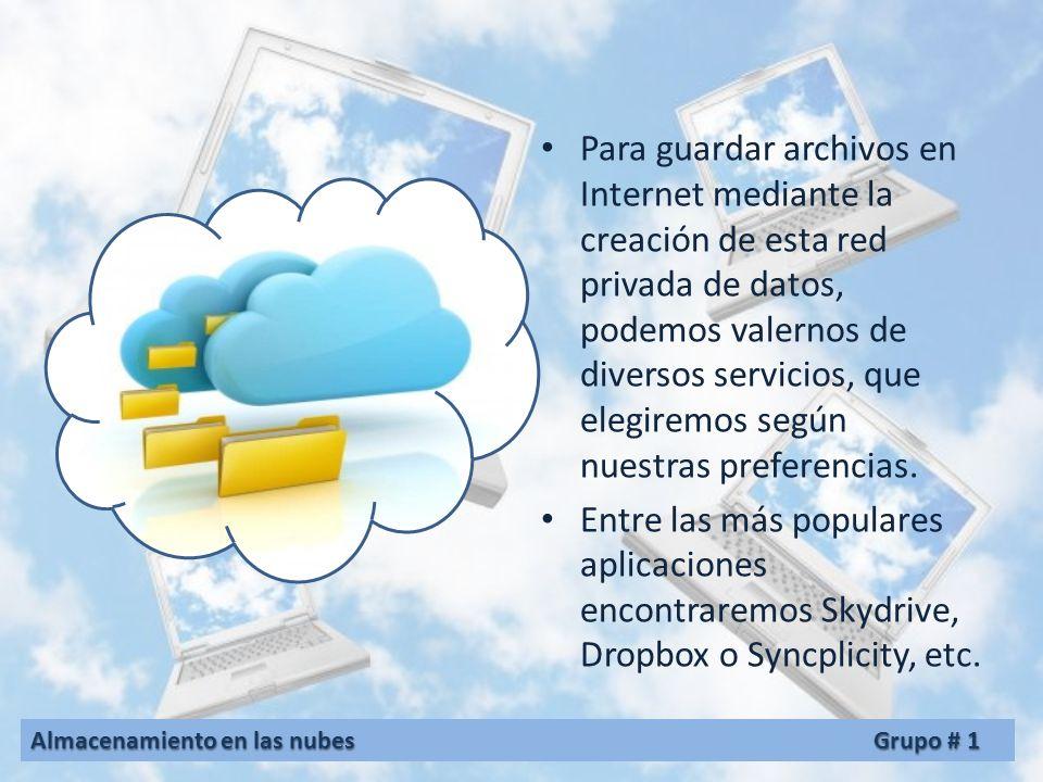 Para guardar archivos en Internet mediante la creación de esta red privada de datos, podemos valernos de diversos servicios, que elegiremos según nuestras preferencias.