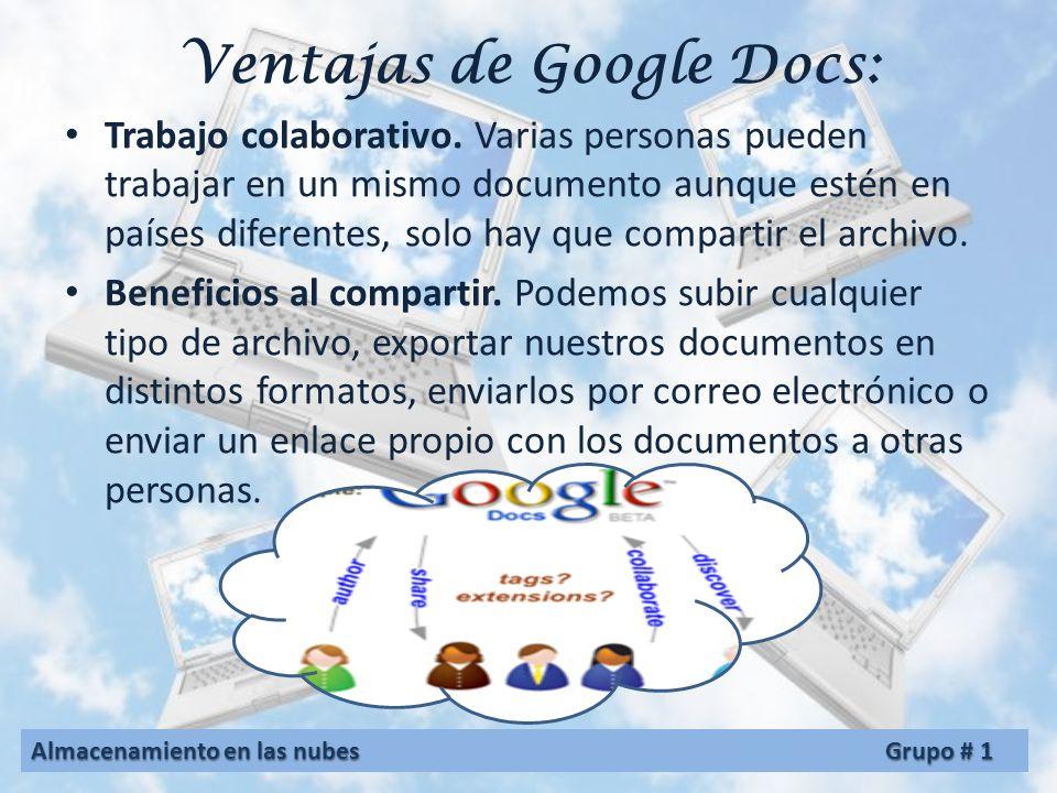 Ventajas de Google Docs: